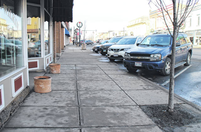 Shown is a portion of sidewalk on South High Street that was set to be replaced by the city. Property owners in the area said the sidewalk shouldn't be replaced because it's in good condition.