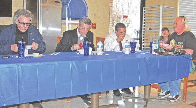 Judges in the hot category at the 14th annual Heartland of Hillsboro Chili Cookoff were, from left, Hillsboro Mayor Drew Hastings, Hillsboro Municipal Court Judge David McKenna, Highland County Commissioner and state representative candidate Shane Wilkin and Nelson Hunter of WVNU Radio.