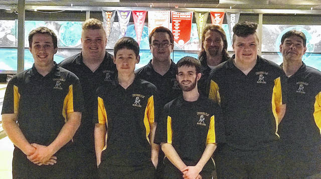 The Lynchburg-Clay boys bowling team poses for a group photo at Highland Lanes in Hillsboro. Pictured (l-r): Brayden Sellman, Noah Fenner. Kaleb Thomas, Nathan Burns, Eli Hollingsworth, Coach James O'Connor, Jonah Fenner, Coach Shawn McLaughlin