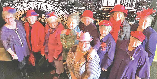 The Precious Pearls Red Hatters of Hillsboro attended the the Country Music Sunday Matinee at Paxton Theatre in Bainbridge on Feb. 18. Pictured, from left, are Susan Thornhill, Norma Jane Morrow, Carol Morris, Lori Morris, Donna Sizemore-Haynes, Luise Curtis, Dolores Basford, Sharon Blevins, Pat Ziesemer and Christina Howard. The Paxton Theatre has started a Sunday Matinee. The doors open at 2:30 p.m. and the show starts at 3 p.m.