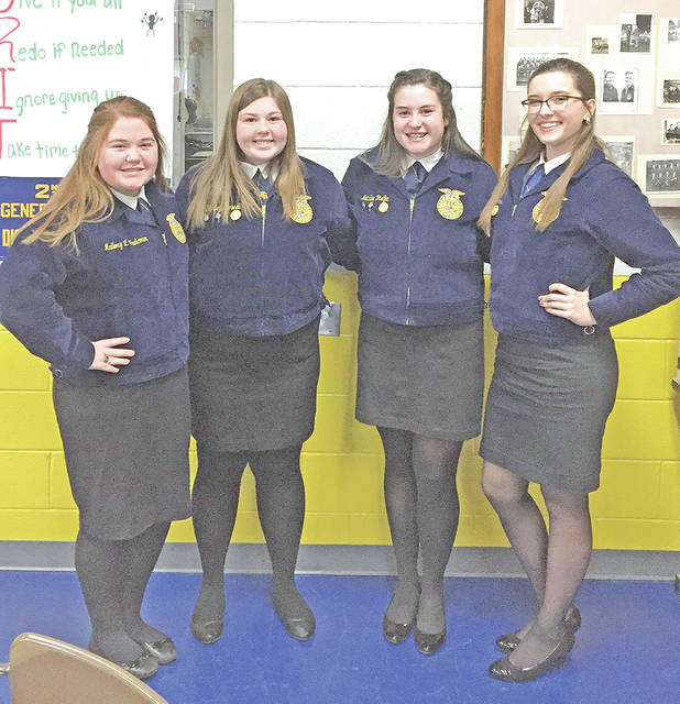 On Feb. 12, members of the McClain FFA Chapter competed in the subdistrict public speaking contest. Members consisted of freshman Mallory Faulconer, sophomores Natalie Rolfe and Harley Penwell and junior Emily Jones. Faulconer competed in the FFA Creed speaking contest and placed first, Rolfe competed in the beginning prepared contest and placed second, Penwell also competed in the beginning prepared contest and received fifth place and Jones placed second in the extemporaneous division. On Feb. 13th, Jones, Rolfe and Faulconer competed at the district level. Jones received seventh place in the extemporaneous division. Rolfe placed fifthh in the beginning prepared division. Faulconer received third in the creed speaking division.