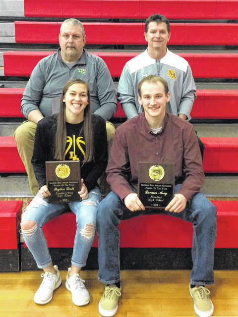 Winners of the Southern Hills Athletic Conference Coach of the Year and Player of the Year in boys and girls basketball pose for a picture at the SHAC Winter Sports Awards held at Fairfield High School. Back row (l-r): Greg Himes, head coach for West Union Boys Basketball and Rob Davis, head coach of North Adams Girls Basketball Coaches of the Year. Front row (l-r): Peyton Scott of Lynchburg-Clay and Tanner Arey of Peebles Basketball Players of the Year.