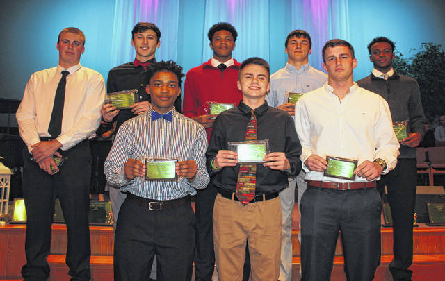 Hillsboro's Phillip MyCroft, far left, was named to the inaugural All-FAC team at the FAC Winter sports banquet held at Grace Community Church in Washington Court House.