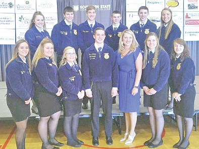 On Friday March 16 members of the Fairfield FFA Chapter and other surrounding chapters met at the Southern State Community College Patriot Center to help volunteer at the Ag is Everyone's Business Conference. Members helped serve breakfast to the guests and got the opportunity to listen to keynote speaker Tyne Morgan. They learned about issues in agriculture and how agriculturalists are overcoming those issues. They learned what they can do to be a part of that solution and how to promote others to help out. Fairfield FFA members are pictured with Ohio State President Ryan Mathews and keynote speaker Tyne Morgan.