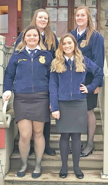 "Four members of the Hillsboro FFA Chapter recently traveled to Felicity Franklin for drictict ag sales. The team members were Brittany Rhoades, Ashlie Hillyer, Haley Hughes and Kristin Jamieson. They placed fourth at districts. Rhoads placed 10th individually and Jamieson placed eighth. Rhoades said ""It was a great experience. I wish I would have done it sooner."" In ag sales CDE members act as a vendor and have an item to sell. This year the team had feed pans to sell. The members need to have good communication and persuasive skills in order to sell their product. Pictured are (back row, l-r) Haley Hughes and Brittany Rhoads; (front row, l-r) Ashlie Hillyer and Kristin Jamieson."