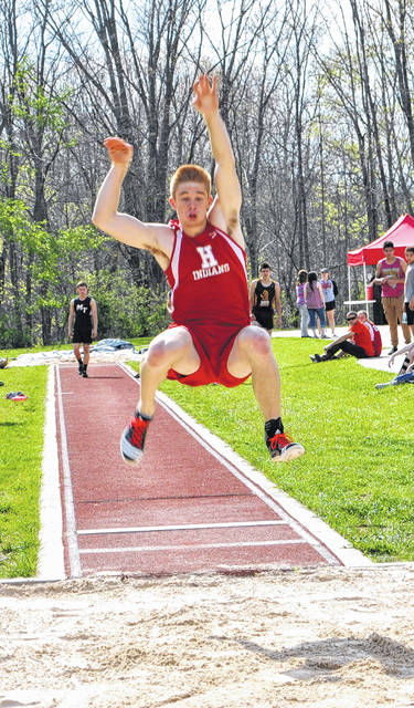 In this file photo Hillsboro senior Austin Goolsby participates in the long jump during the Hillsboro Invitational at Hillsboro High School in 2017.