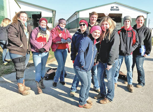 "Livestock judging is in full swing and the Hillsboro FFA general livestock judging team is working hard to get back to the state competition again this year. On March 3, five members attended the competition in Marysville. They placed sixth as a team and Kirsten Harp placed third individually. ""Livestock judging is a great opportunity and something that I really enjoy,"" Harp said. On March 7, the team attended the Wilmington Aggies competition in Springfield. Nineteen members attended the competition and Joe Helterbrand placed in the top 60 out of 600 other competitors. On March 10, nine members attended the Miami Trace judging contest. The team placed eighth overall and Emma Parry placed in the top 20. Pictured, from left, are Haley Hughes, Alora Brown, Loraleigh Mayhan, Lexi Hetzel, Joe Helterbran, Kirsten Harp, Emma Perry, Bryce Stanley and Ashlie Hillyer."