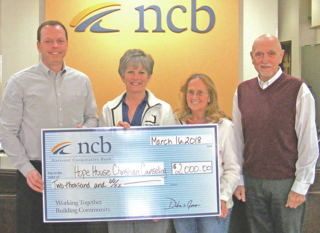 NCB recently donated $2,000 to the Hope House Christian Counseling Center. The center provides affordable counseling services for those in need. Pictured are NCB loan officer Rodney Donley, Hope House Executive Director Julie Seaman, and Hope House board members Donna Smith and Richard Van Zant.