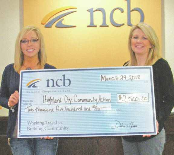 NCB recently donated $2,500 to the Highland County Community Action Organization Inc. The money will be used for the Senior Nutrition Program that provides home delivered meals each weekday to more than 110 seniors throughout Highland County. Pictured are Ruth Cutright, left, executive assistant for Community Action, and Heather Cummings, NCB marketing manager.