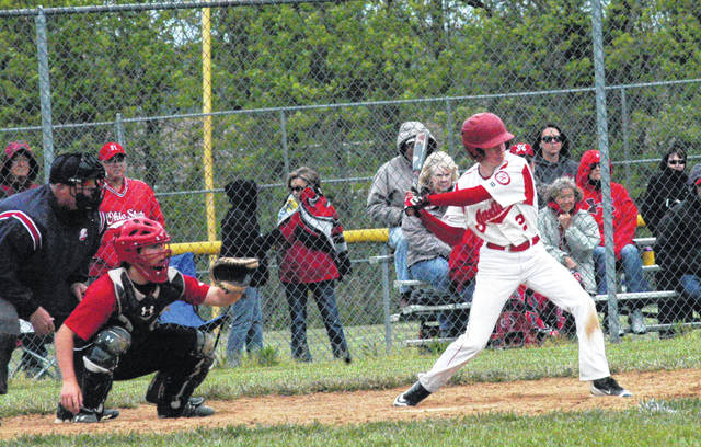In this file photo Hillsboro's Payton Bell begins to swing his bat in a game against the Fairfield Lions at Fairfield High School during the 2017 season.