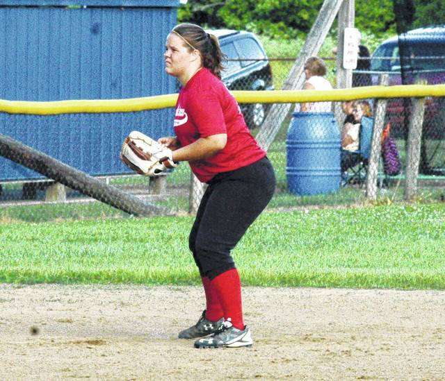 In this file photo Hillsboro's Riley Moberly takes her position at shortstop during a summer league game at Shaffer Park in Hillsboro.