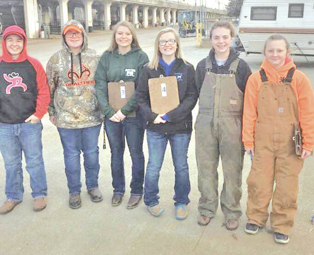 On Saturday, March 24, members of the Mowrystown FFA Chapter traveled to The Ohio State Fairgrounds to participate in the Ohio FFA General Livestock Evaluation CDE. The middle school team placed fifth in the state. Chandra Hill placed sixth individually. The General Livestock CDE is an educational program designed as a practical method of teaching students to recognize quality production animals. The skills students learn in evaluating cattle, hogs, sheep and goats and should make them better livestock producers and consumers by providing hands-on, practical experience in identifying and understanding characteristics that affect production and quality. The middle school team which consisted of Chandra Hill, Aiden Elliot, Jessie Satterfield, Bobby Satterfield, Ann Ames and Sky Leston.