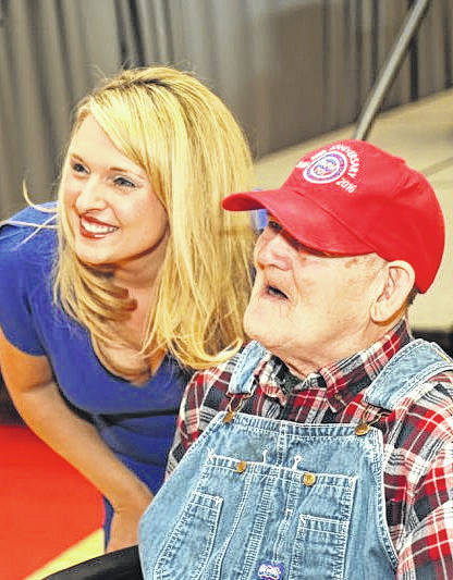 "Shown are Tyne Morgan, left, host of the U.S. Farm Report, and Larry Wheatley, a local resident and avid fan of RFD-TV, at the ""Ag Is Everyone's Business"" event Friday at Southern State Community College."