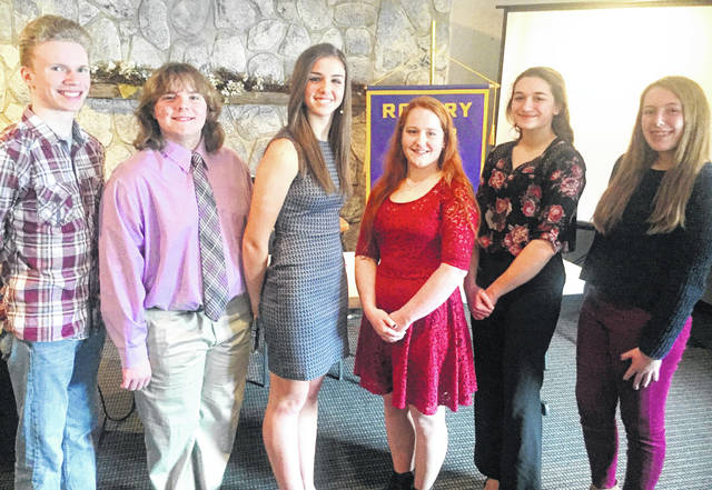 Shown are participants in this year's Hillsboro Rotary 4-Way Speech Competition, from left, William Cassner, Gideon Pickering-Polstra, Laynee Duffie, Rachel Tracy, Emma Hess and Sarah Wuellner.
