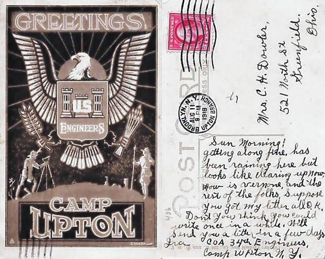 This postcard from Camp Upton, a U.S. Army base in New York, led to somewhat of an investigation on social media in recent weeks into its author and the address on the card, which was apparently located at the current site of the McClain High School athletic field.
