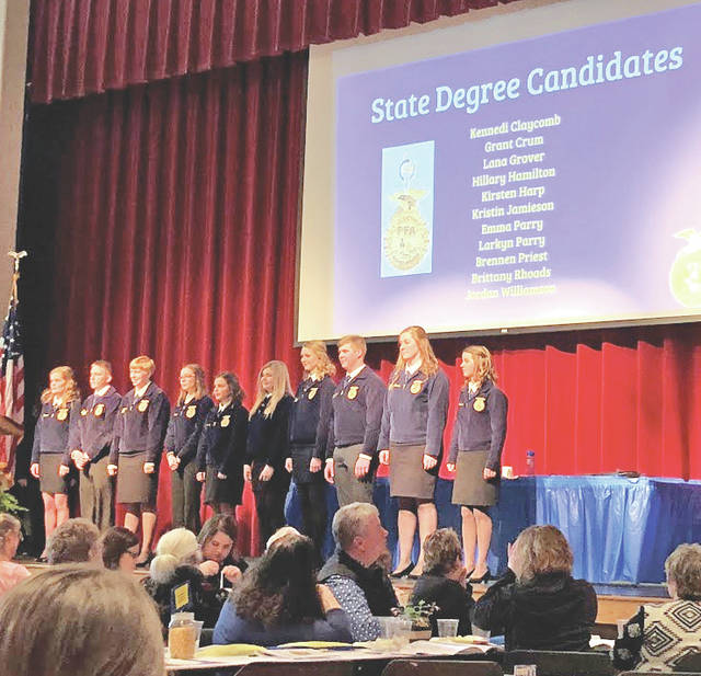 Pictured are members of the Hillsboro FFA Chapter that will be receiving their State FFA Degrees in May.
