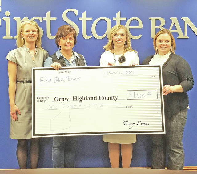 Pictured, from left, are Tracy Evans, Grow! Highland County Director; Dianna Fordyce, Grow! Highland County board member; Diana Grooms, First State Bank Hillsboro Banking Center manager; and Amy Hamilton, First State Bank ag and commercial lender.