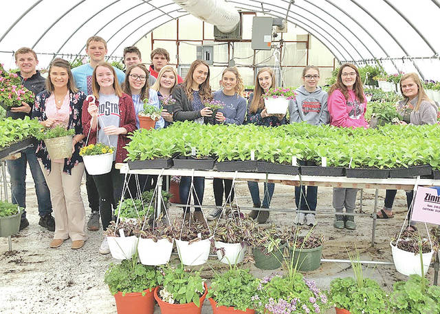 Pictured, from left, are Devon Gallimore, Miss Brautigam, Kole Maynard, Attie Johnson, Jessica Moon, Kaleb Castle, Tyler Annon, Emma Parry, Kenzie Adams, Kristin Jamieson, Abby Roades, Hillary Hamilton, Heather Burba and Kennedi Claycomb.