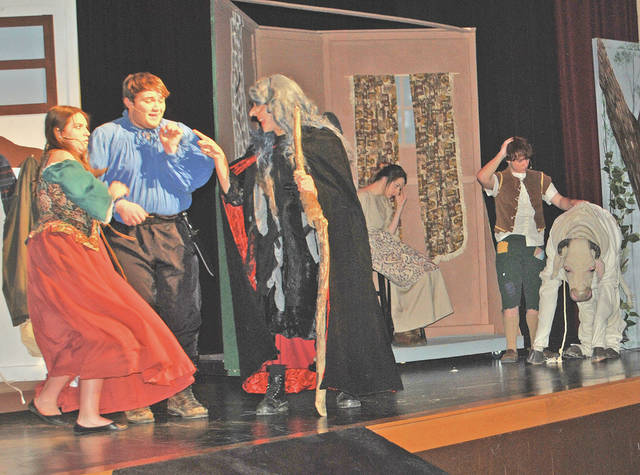 "Cast members including, at the far left, Emma Horick, Zebadiah Pickering-Polstra and Sydney Sears are pictured during their final dress rehearsal Thursday night for this weekend's Hillsboro High School musical production of ""Into The Woods."""