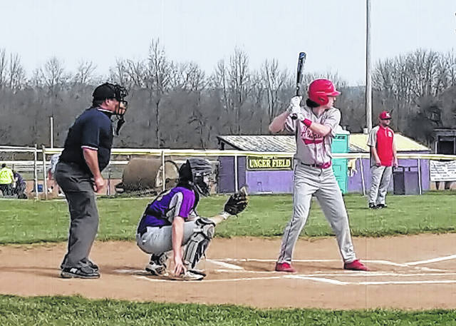 In this Times-Gazette file photo Luke Magulac waits on a pitch at Mitchell Park in Greenfield on April 13. The Indians took on the Miami Trace Panthers on Friday, April 20, at Shaffer Park.