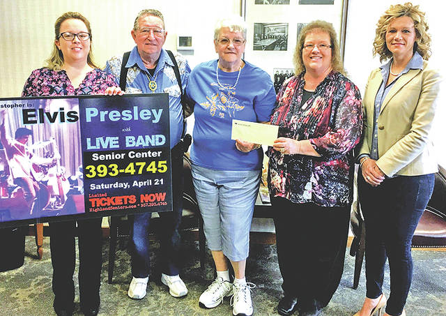 Merchants National Bank presented the Highland County Senior Citizens Center with a $500 sponsorship recently for the center's fundraising event, Decade Dinner & Dance Featuring Tyler Christopher as Elvis Presley. Christopher will appear live with The Elvis Tribute Band. Christopher is an award-winning and nationally-recognized tribute artist that replicates a young and energetic Presley. The event is on Saturday, April 21 with a limited number of tickets still still available. Tickets can be purchased in advance at the center Monday through Friday from 8 a.m. to 4 p.m. or online at HighlandSeniors.com. Pictured, from left, are Mechell Frost, senior center director; senior center members Howard and Juanita Kelly; Merchants National Bank Chairman's Secretary/HR Bertha Hamilton; and Denise Fauber, MNB vice president of branch administration.