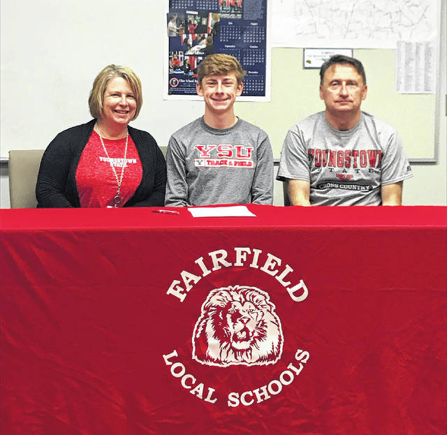 Fairfield senior Matthew Mangus signed today to attend Youngstown State University and to participate as a men's cross country and track and field athlete. Matthew has been a four year varsity cross country and track athlete at Fairfield High School while maintaining a 4.0 GPA. Pictured (l-r): Deborah Mangus(mother), Matthew and Bill Mangus(father).
