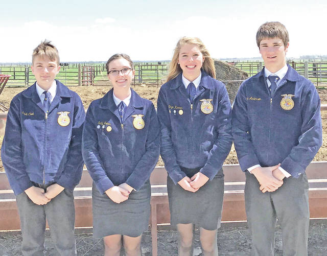 On April 27 the McClain FFA won the state livestock judging contest, beating out 169 teams and 978 individuals. The team qualified for the state finals at the preliminary contest in March. The members that qualified for finals were Emily Jones, Caleb Cook, Eric Anderson and Bryn Karnes. At the state contest the members judged three classes of livestock and prepared reasons for each class. They were also required to complete a team activity. By winning this contest, the team will be representing Ohio and competing at The National FFA Convention in Indianapolis against other state winners from across the country. The chapter is excited for this opportunity. This is the first time the McClain FFA has won the contest since 1974 and it looks forward to the opportunities this will bring the members.
