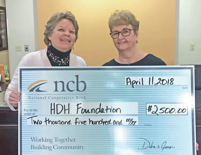 NCB recently donated $2,500 to the Highland District Hospital Foundation for the annual health fair on Saturday, April 14. This health fair offers various screenings and services to over 900 community members annually. Pictured are Cathy Jones, HDH Foundation director, left, and Tammy Irvin, NCB regional branch manager.