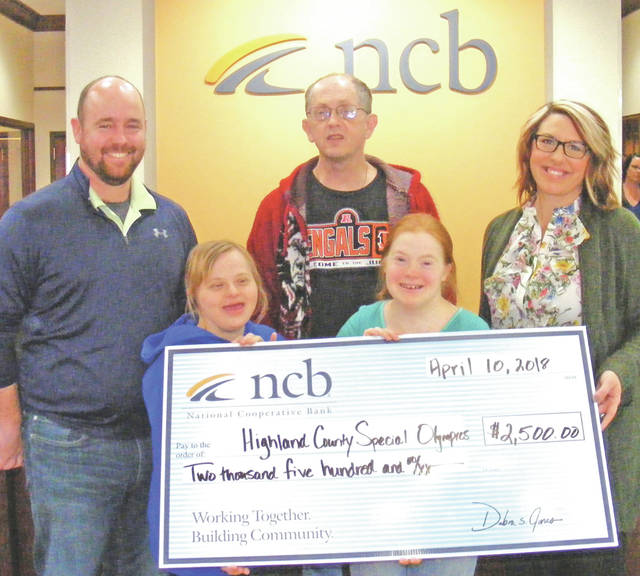 NCB recently donated $2,500 to the Highland County Special Olympics. The money will be used for students and adults seeking an opportunity to participate in local sporting events for individuals with disabilities. Pictured are Nathan Boatman, Highland County Special Olympics coordinator; Courtney Adam, Dennis Godlove, Letitia Couch and Jocelyn Leeth, NCB assistant branch manager.