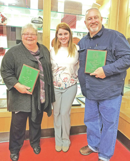 Pictured are 2018 Highland County Friends of 4-H Award winners Nikke Eyre (left) and Steve Dillon (right) with Danielle Combs.