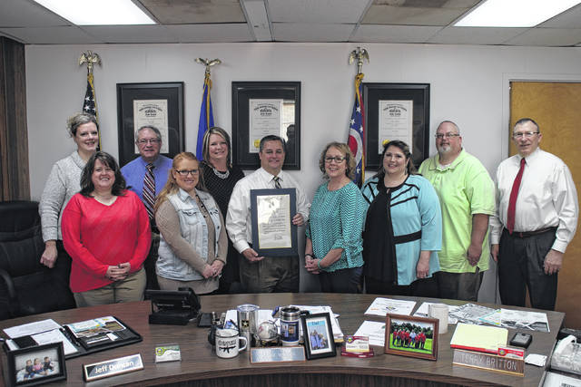 The Highland County Board of Commissioners on Wednesday declared April Sexual Assault Awareness Month in Highland County. The board is shown with staff from the Alternatives to Violence Center, which provides crisis intervention and support to victims of domestic, dating, child, adult, sexual and stalking violence in Highland County and Clinton County.
