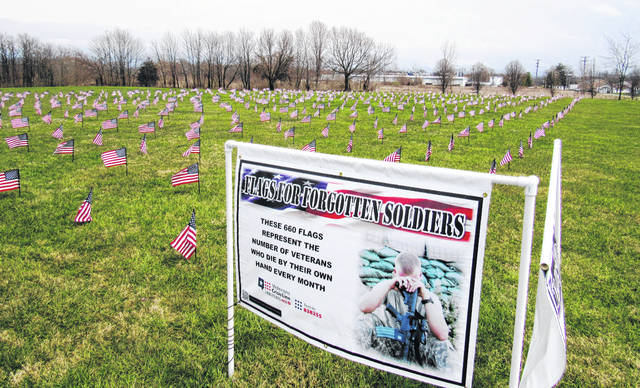 Shown is the display in Greenfield of 660 flags denoting the number of veterans who take their own lives each month.
