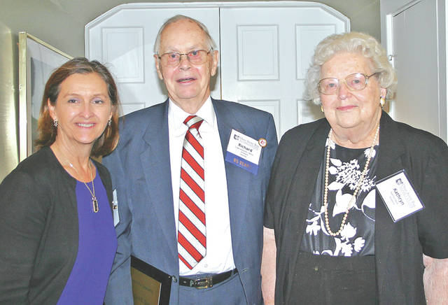 Judge Richard Davis, center, is pictured with his wife, Kathryn Tolle (Evans) Davis, right, and his daughter, Susan L. Davis Thompson.