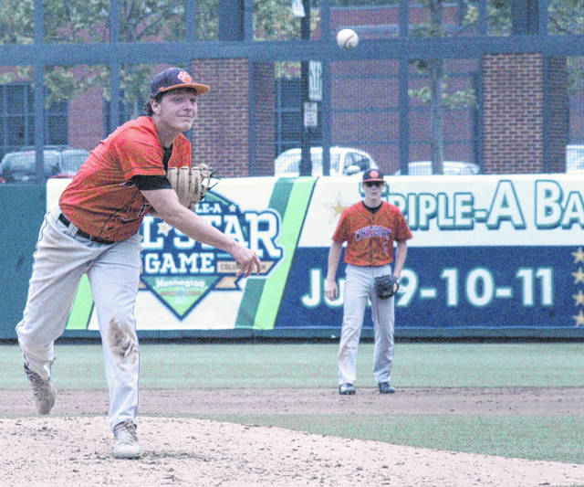 Evan Brill throws a pitch in the bottom of the second inning Thursday at Huntington Park in Columbus where the Wildcats battled the Hicksville Aces in the Division IV State Semifinal baseball match up.