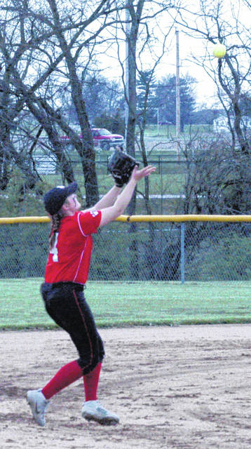 In this file photo, from April 27, Fairfield's Layla Hattan makes a catch in front of second base in the Lady Lions' 12-0 victory. Fairfield softball hosted Manchester Wednesday in a SHAC softball matchup.