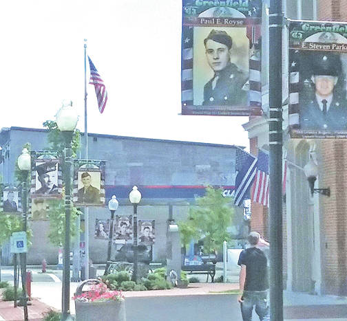This photograph shows some of the veteran memorial banners that were recently placed in downtown Greenfield.