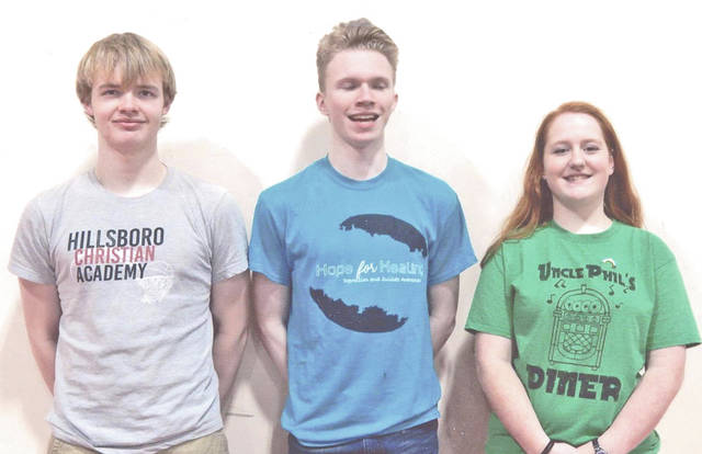 Voice of Democracy at the Hillsboro Christian Academy are picted, from left, Josh Graybeal, junior, third place; William Cassner, senior, second place; and Rachel Tracy, senior, first place. The event was sponsored by Hillsboro VFW Post 9094 and the post auxiliary.