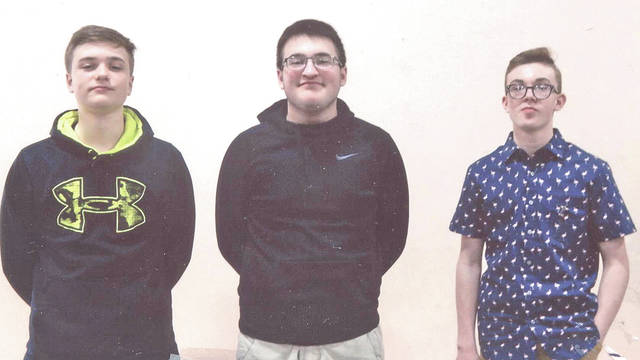 Winners of the Patriot Pen contest at the Hillsboro Christian Academy are pictured, from left, Spencer Wyckoff, grade 8, third place; Patrick Hardy, grade 8, second place; and Logan Bieler, grade 8, first place. The event was sponsored by Hillsboro VFW Post 9094 and the VFW Auxiliary.