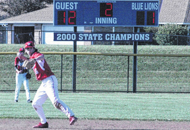 Luke Magulac of Hillsboro fields a ball at shortstop on Thursday at Washington High School where the Indians defeated the Blue Lions to win the Division II Sectional Title.
