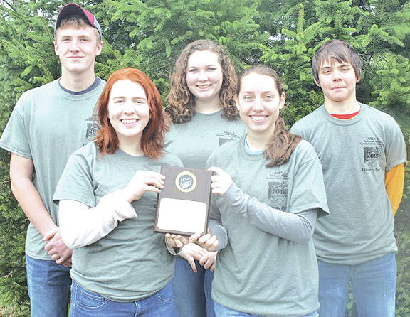 The first place Lynchburg-Clay Mustang team is pictured: (front row, l-r) Leah Bauer and Allison Kohus; (back row, l-r) Kurt Hamilton, Kara Williams and Austin Leininger.