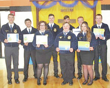 The Mowrystown FFA chapter held its annual banquet May 8 when FFA members were recognized for outstanding accomplishments over the past year. It was made known that this is the 80th year that the Mowrystown FFA chapter has been a part of The Ohio FFA. Along with awards, the new chapter officers for the 2018-19 school year were inducted and placed within their respective offices. Pictured are the new Mowrystown FFA officers. One of the most anticipated awards of the evening is the outstanding student awards from each grade level. To qualify for this award, students must be active in the chapter and fill out an application. Chapter adviser Brian DeAtley evaluates each application along with active participation within the last year. The following are the outstanding students for each grade level: eighth grade, first place Bobby Satterfield; second place Jessie Satterfield; third place Aiden Elliott. Ninth grade, first place, Chesnie Pharo. Sophomores, Cora Gillespie. Juniors, first place, Zach DeAtley; second place, Atlee Carr; third place, Nate Frazer. Seniors, first place, Colton Evans; second place, Katie Pietropinto.