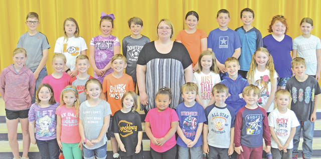 These children were chosen as May Students of the Month at Lynchburg-Clay Elementary School. They were chosen by their teacher for displaying positive behavior, being responsible and respectful, doing good deeds as well as their school work and for being a positive role model. Pictured are (front row, l-r) Deanna Lomax (first grade), Jocelyn Vance (first grade), Miley Pierce (first grade), Kiersten Ribby (first grade), Porsha Wise (preschool), Korbin Williams (kindergarten), Carter Warnock (kindergarten), J.E.T. Balon (kindergarten) and Camaren Campbell (kindergarten);(second row, l-r) Olivia Van Fleet (fifth grade), Lily Lane (second grade), Carter Lane (second grade), Brayden Quarles (second grade), Mrs. Godby (principal), Emily Diskete (third grade), Landen Saylor (first grade), Lizzie Shreve (fourth grade) and Elijah Garrett (second grade); (third row, l-r) Daulton Ernst (fifth grade), Diamond Hewitt (fourth grade), Lily Doughman (third grade), Elam Faust (fourth grade), Raegan Brown (fourth grade), Zaden Hawk (fifth grade), Maddox Garrett (fifth grade), Cheyenne Lewis (third grade) and Kayden Lewis (third grade). Not pictured were Brayden Butler (prekindergarten) and Shane Stubbs (fifth grade).
