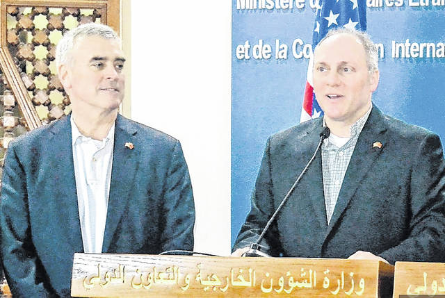 Congressman Brad Wenstrup, left, is shown with Majority Whip Steve Scalise during an April trip to Morocco by a bipartisan congressional delegation to meet with U.S. service members and government leaders. Wenstrup provided first aid that Scalise credits for saving his life after a sniper attack at a congressional baseball practice last year.