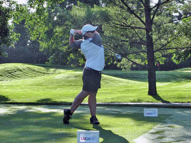 In this Times-Gazette file photo from 2015 Amanda Dixon, a 2008 graduate of Hillsboro High School, tees off at a USGA event.