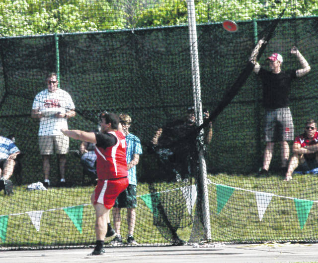 Draven Stodgel throws the discus Saturday at Jesse Owens Memorial Stadium in Columbus on day two of the OHSAA State Tract and Field Meet.