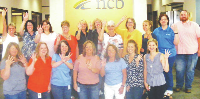 NCB employees in Hillsboro celebrate the bank's No. 4 ranking among large companies on the 2018 Best Employers in Ohio list.
