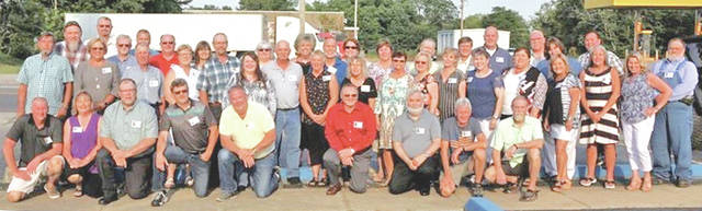 The Hillsboro High School class of 1978 met Saturday, June 16 at the Ponderosa Banquet Center for its 40-year reunion. There were 45 class members present. Pictured above are (kneeling, l-r) Chris Fenner, Debbie Griffith Brice, Jerry Bach, Rocky Ferrell, Larry Burns, Jerry Cochran, Mark Porter, Don Webster and Joe Hopkins; (second row, l-r) Scott Fenner, Sandy McKenzie Shoemaker, Tim Shoemaker, Melody Higgins Evans, Ronnie Rhoads, Jill Norris Ortega, Ronnie McLaughlin, Elaine McIntyre Kelch, Susan Gregory Conley, Marti Elliott South, Sharon Heistand Mays, Cheryl Hoover Knight, Kim Hunter Allen, Marilyn Hasting Heflin, Shirley Haag, Poochie Johnson O'Hara, Wynette Potts Lamb and Rick Main; (back row, l-r) Randy Dyer, Mark Ferguson, Tim Lyons, David Fenner, David Skoog, Cheryl Caplinger Gordon, Kim Gleadle McLaughlin, Julie Jones Barreras, Rick Kelch, Patty Vergamini Guagliardo, Caroline Colthar Irons, Kelley Walker, Tom Burwinkel, Larry Armstrong, Donnie Barrera, Stephanie Jackson Bobb and Dale Zornes.