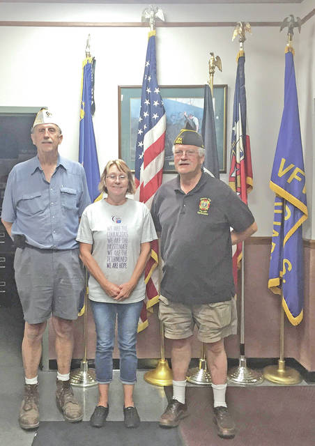 Hillsboro VFW Post 9094 recently donated $500 to Highland County Relay for Life. Pictured, from left, are VFW Post Commander Rick Wilkin, Janie Angles with Relay for Life, and VFW Post Quartermaster David Pinney. Highland County Relay for Life's big annual event will be held from 11 a.m. to 11 p.m. Saturday, June 23 at the Highland County Farigrounds in Hillsboro.