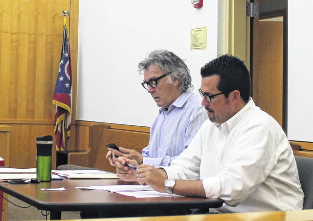 Hillsboro Mayor Drew Hastings and Safety and Service Director Mel McKenzie are pictured during Hillsboro City Council's June meeting Monday night at the Highland County Justice Center.