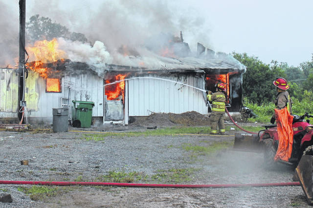 Emergency crews fight a structure fire on Sharpsville Road east of Lynchburg on Thursday. The cause of the fire was undetermined Thursday afternoon.